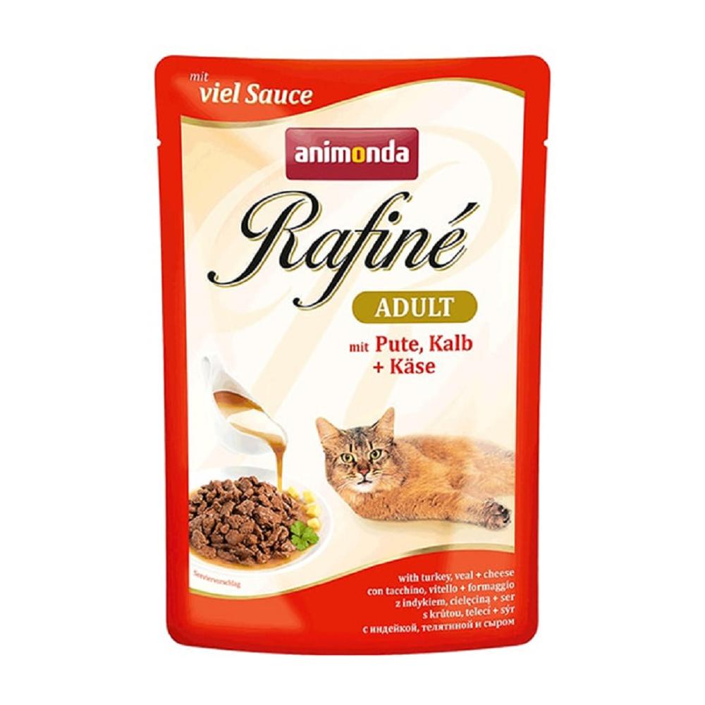 Rafine Пресервы для взрослых кошек, кусочки из индейки, телятины и сыра в соусе