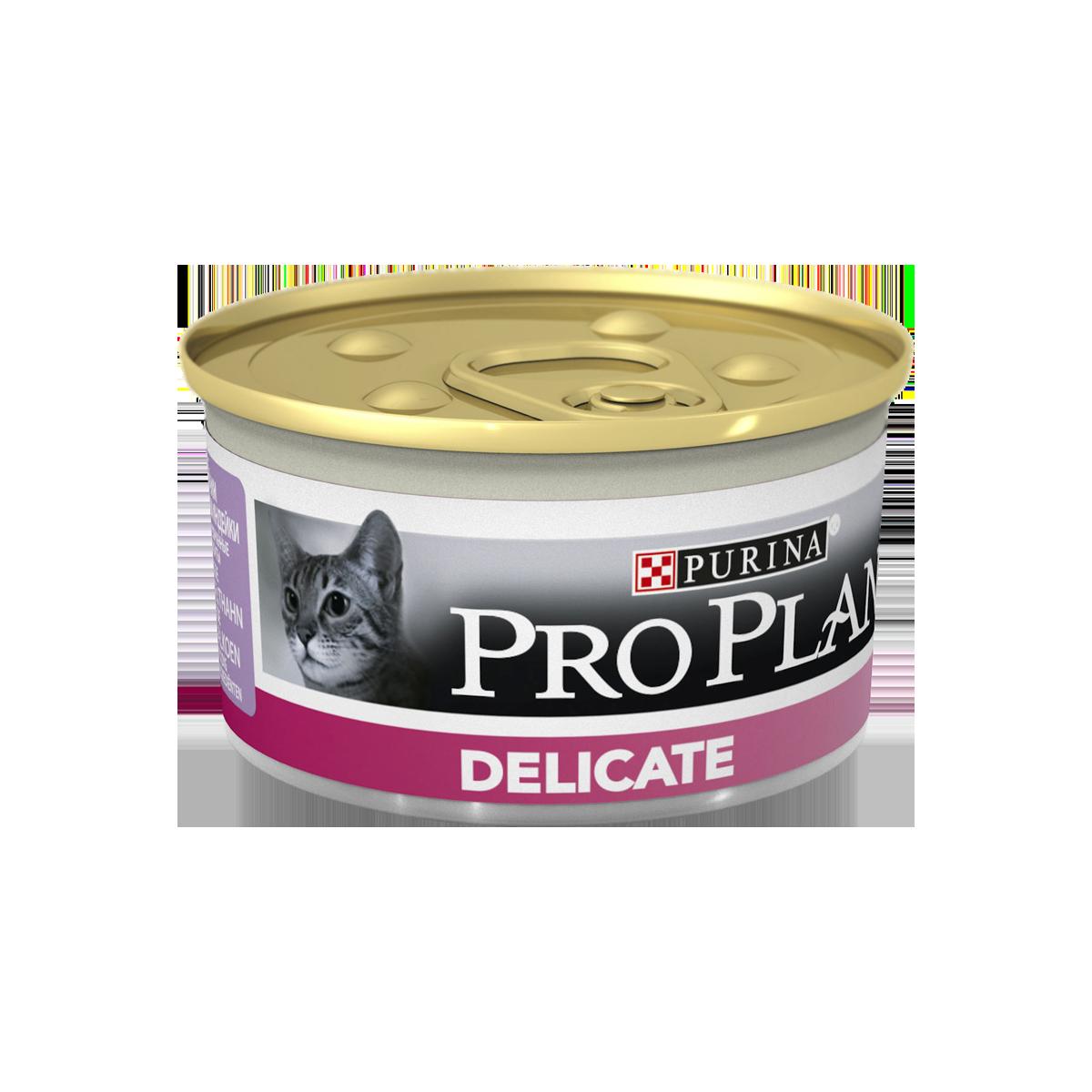 Pro Plan Консервы для взрослых кошек с чувствительным пищеварением, паштет с индейкой
