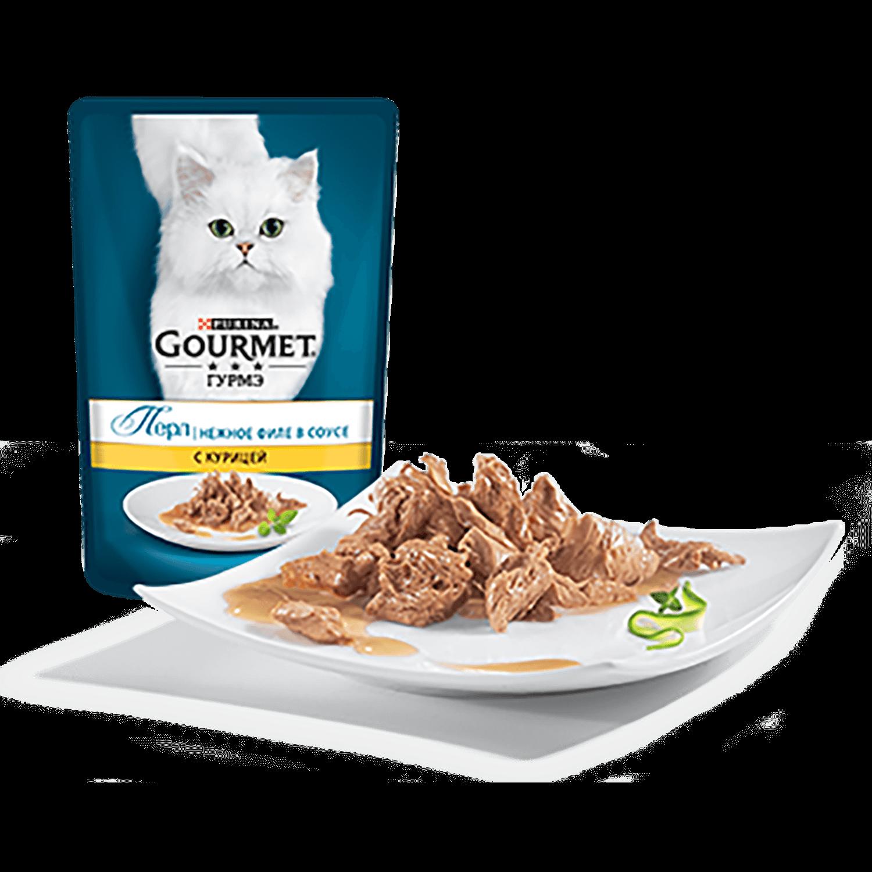 Gourmet Perle Пресервы для взрослых кошек, с курицей в соусе