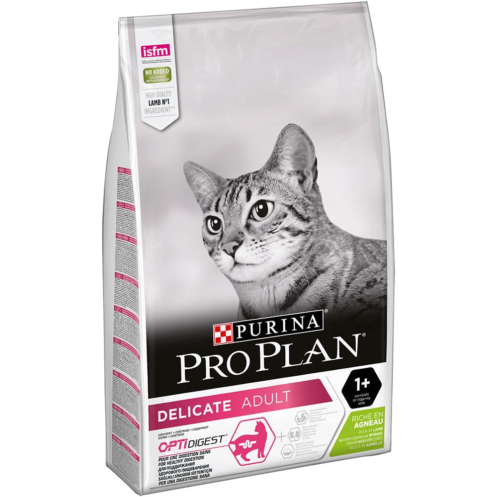 Pro Plan Корм для взрослых кошек с чувствительным пищеварением, с ягненком