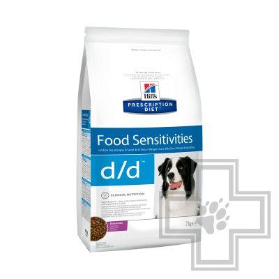 Hill's PD d/d Корм-диета для собак для здоровья кожи при пищевой аллергии, с уткой