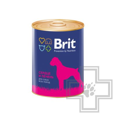 Brit Консервы для взрослых собак, паштет с сердцем и печенью