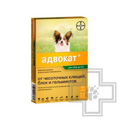 Адвокат Капли на холку для собак от чесоточных клещей, блох и гельминтов (цена за 1 пипетку)