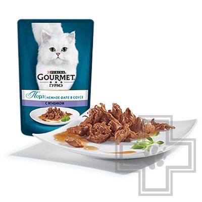 Gourmet Perle Пресервы для взрослых кошек, с ягненком в соусе