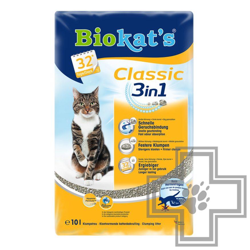 Biokat's Classic 3 в 1 Natural Наполнитель минеральный комкующийся