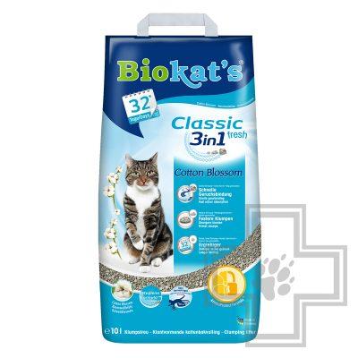 Biokat's Classic 3 в 1 Fresh Наполнитель минеральный комкующийся, с ароматом хлопка