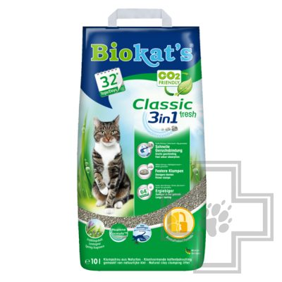 Biokat's Classic 3 в 1 Fresh наполнитель минеральный комкующийся, с ароматом весенних трав