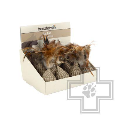 """Beeztees """"Tumblo"""" Игрушка картонная с перьями для кошек (цена за 1 игрушку)"""