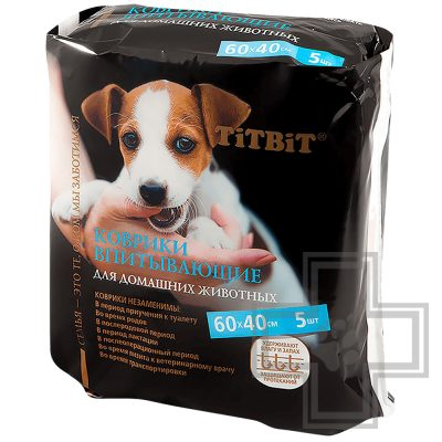 TiTBiT Коврик впитывающий для животных, 60 x 40 см (цена за 1 коврик)