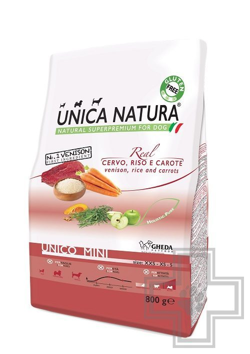 Unica Natura Mini Корм для собак мелких пород с олениной, рисом и морковью