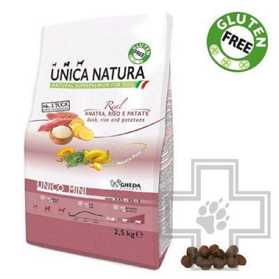 Unica Natura Mini Корм для собак мелких пород с уткой, рисом и картофелем
