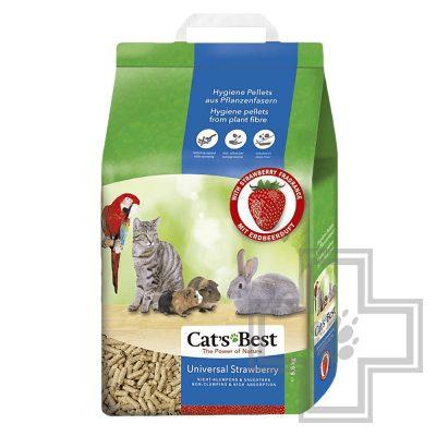 Cat's Best Universal Наполнитель древесный впитывающий с ароматом клубники