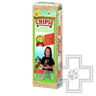 CHIPSI наполнитель древесный впитывающий для грызунов с ароматом клубники