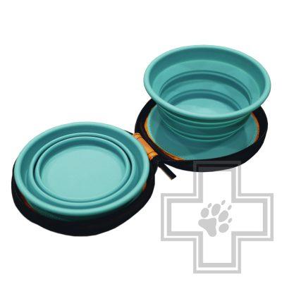 Beeztees Eesy Дорожный набор силиконовых мисок для собак, зеленый, размер M