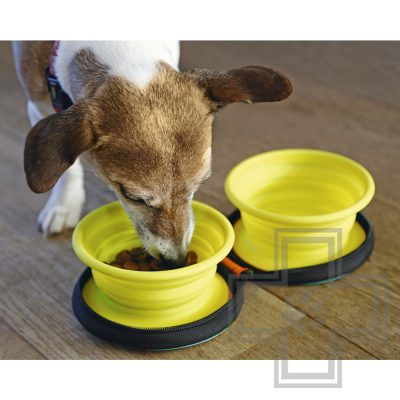 Beeztees Eesy Дорожный набор силиконовых мисок для собак, желтый, размер S