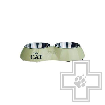 Beeztees Best Cat Миска для кошек двойная 15 см, бежевая