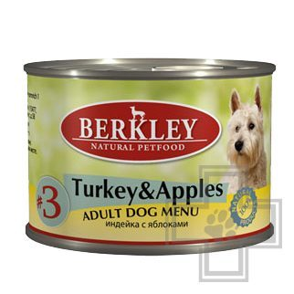 Berkley Консервы №3 для собак, индейка с яблоком