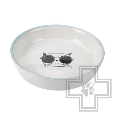 Beeztees Falko Миска для кошек керамическая, бело-голубая