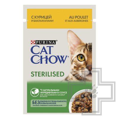 Pro Plan Cat Chow STERILIZED Пресервы для взрослых стерилизованных кошек, курица и баклажаны в соусе