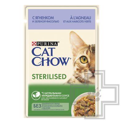 Pro Plan Cat Chow STERILISED Пресервы для стерилизованных кошек, ягненок и зеленая фасоль в соусе