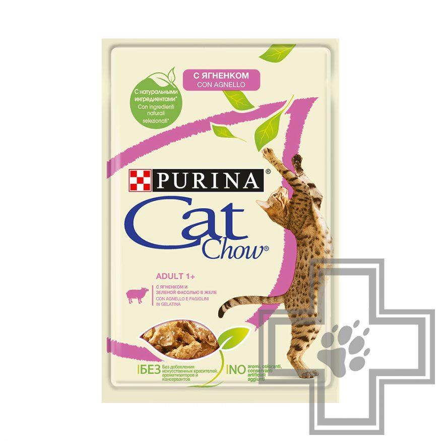 Cat Chow Adult Пресервы для взрослых кошек, с ягненком и зеленой фасолью в желе